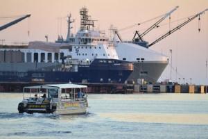 Cargo ships in dock