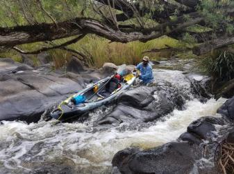 Danny tackling a rapid on the Clarence River