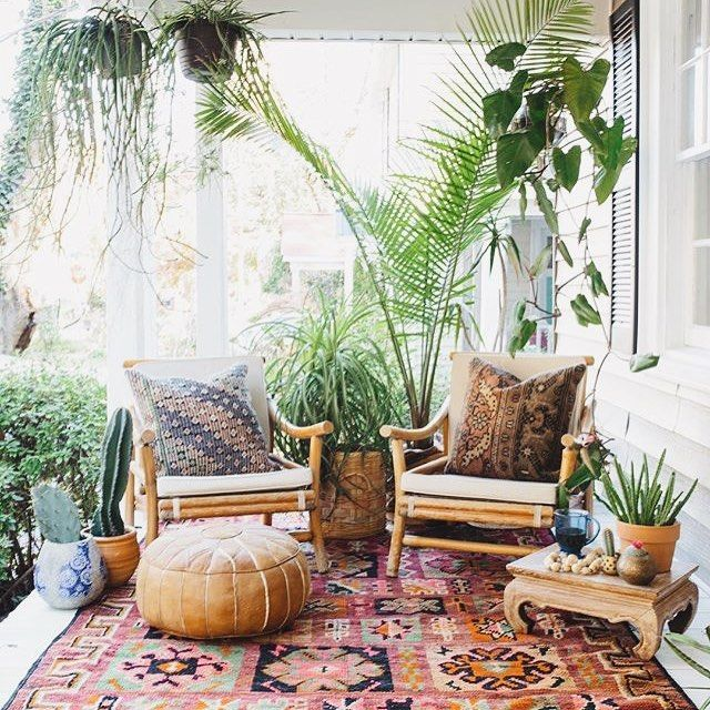 Bohemian style room with lots of plants