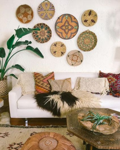 eclectic wall gallery made of textiles