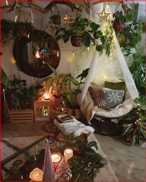 boho chic room with lots of plants