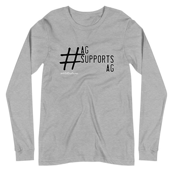 Ag Supports Ag Hashtag Unisex Long Sleeve Grey