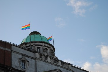 Gay Pride flags flying over O'Connell Street