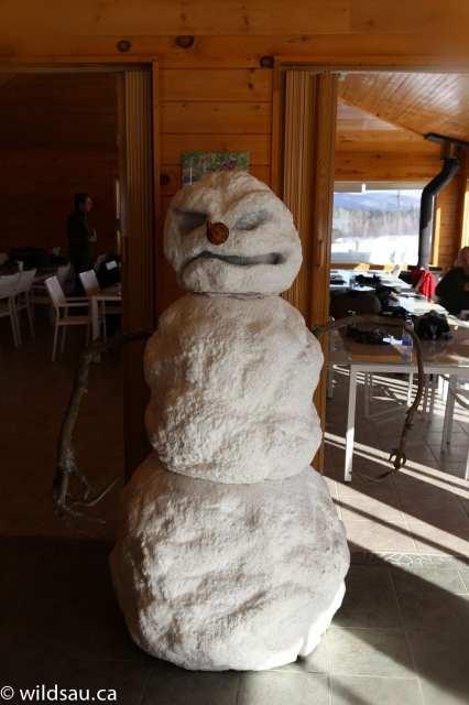 snowman inside lodge