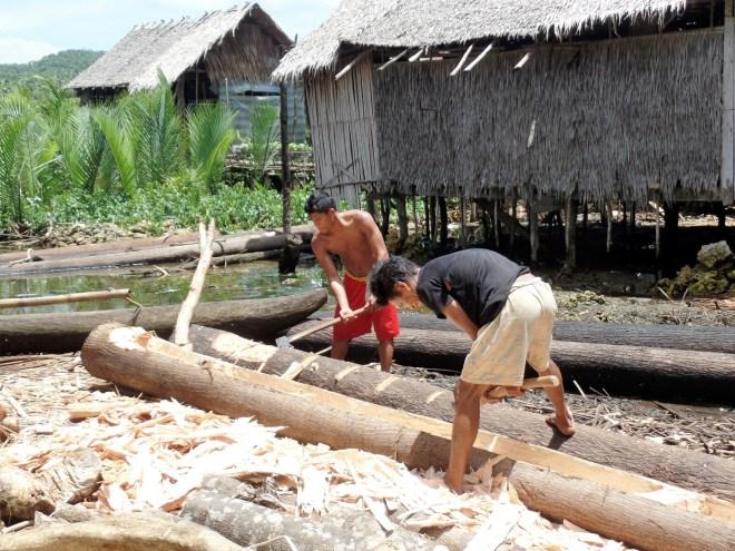 Siargaonons at work; bulding dugout canoes, Siargao Island