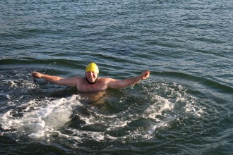 Happy winter swimmer!