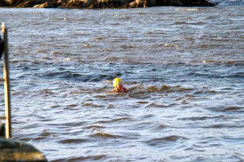 Lottie struggles to reach the jetty