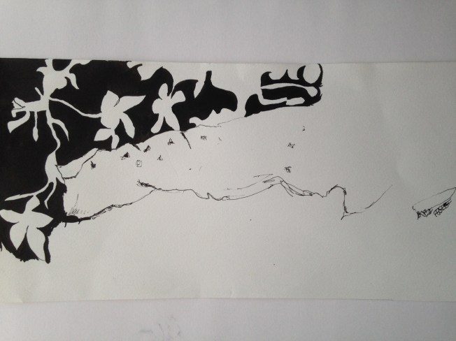 Indian ink, looking at negative shapes.