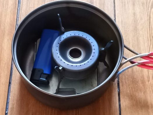 Vargo Triad multifuel stove stored in a 900ml Evernew titanium saucepan