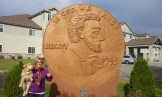 Mom and I at the World's Largest Penny in Hayward, Wisconsin