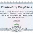 """Сертификат об окончании курса """"Исчерпывающий ускоренный курс обучения Ютуб - получите 100000 подписчиков как я"""""""