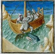 Jonah is thrown into the sea