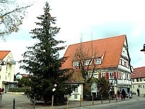 Weihnachtsbaum Stuttgart-Hedelfingen Marktplatz Altes Haus