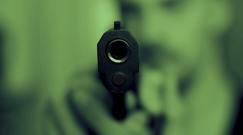 Blick in den Lauf einer Pistole