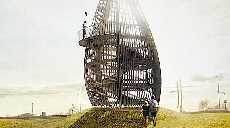 Illustration des Apfelkernturms für einen Aussichtspunkt oberhalb der Schwende