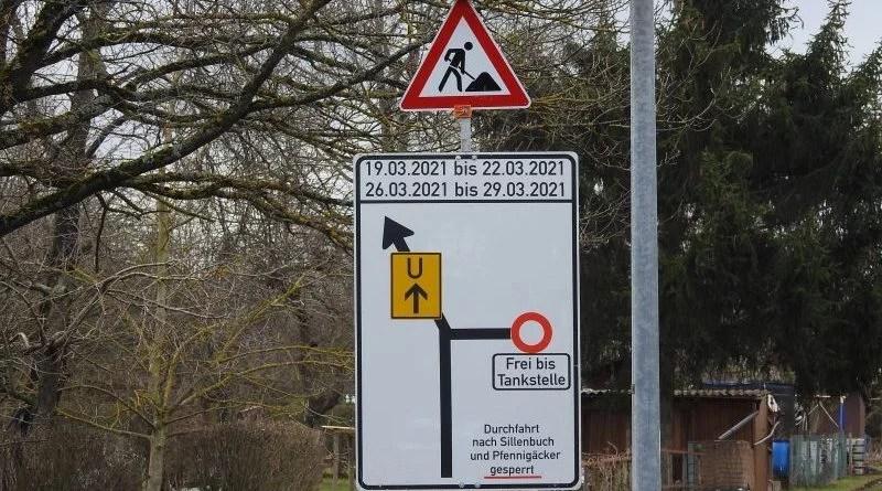 Baustellenschild zu Sperrung Bockelstraße März 2021