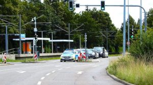 Blick auf Ampel Kirchheimer Straße bei Abzweig Bockelstraße Richtung Ruit