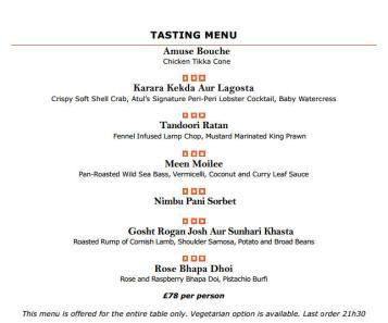 Benares Restaurant (Mayfair) - 10th Anniversary Menu
