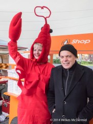 The Rosie Project's author, Graeme Simsion with a tasty lobster