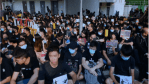 HONG KONG PROTESTERS STAGE SIT-IN AT SCHOOL OF VICTIM SHOT BY POLICE