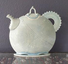 Porcelain teapot, celadon glaze