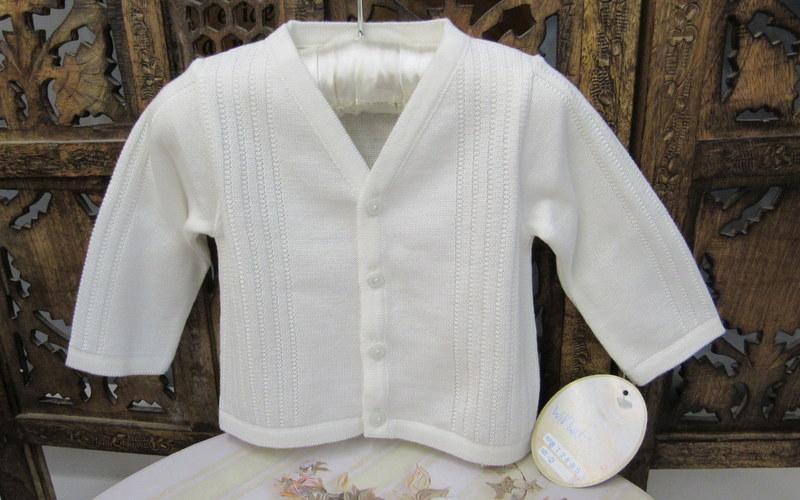 Will/'Beth Infant Boys White V-Style Sweater 872685