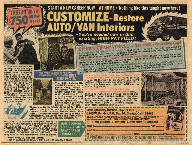 customize van comic book ad