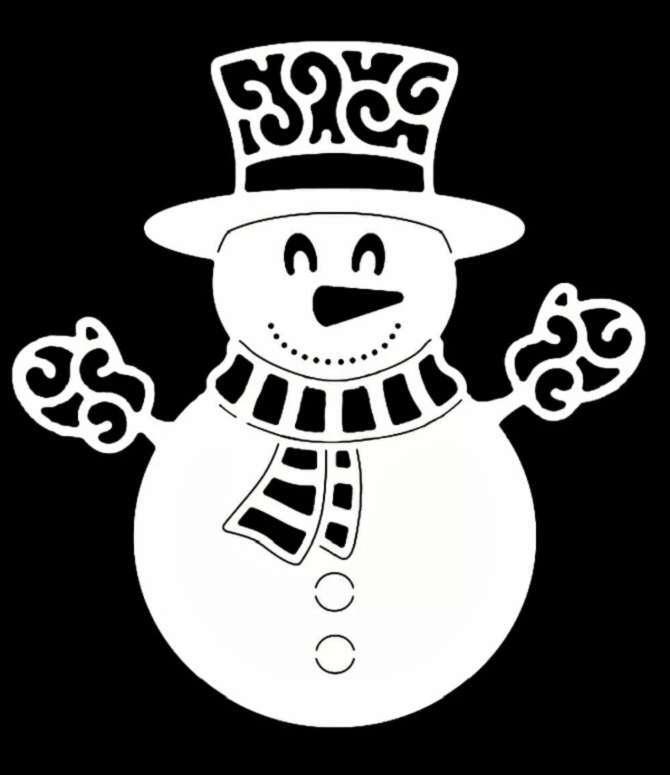 Người tuyết trong khăn quàng cổ và găng tay