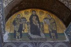Constantine gives Christ the city of Constantinople and Justinian the Hagai Sophia