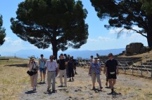 Pergamum party passing the Temple of Zeus