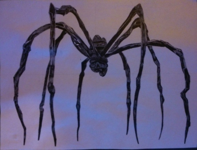 Spider sculpture drawing