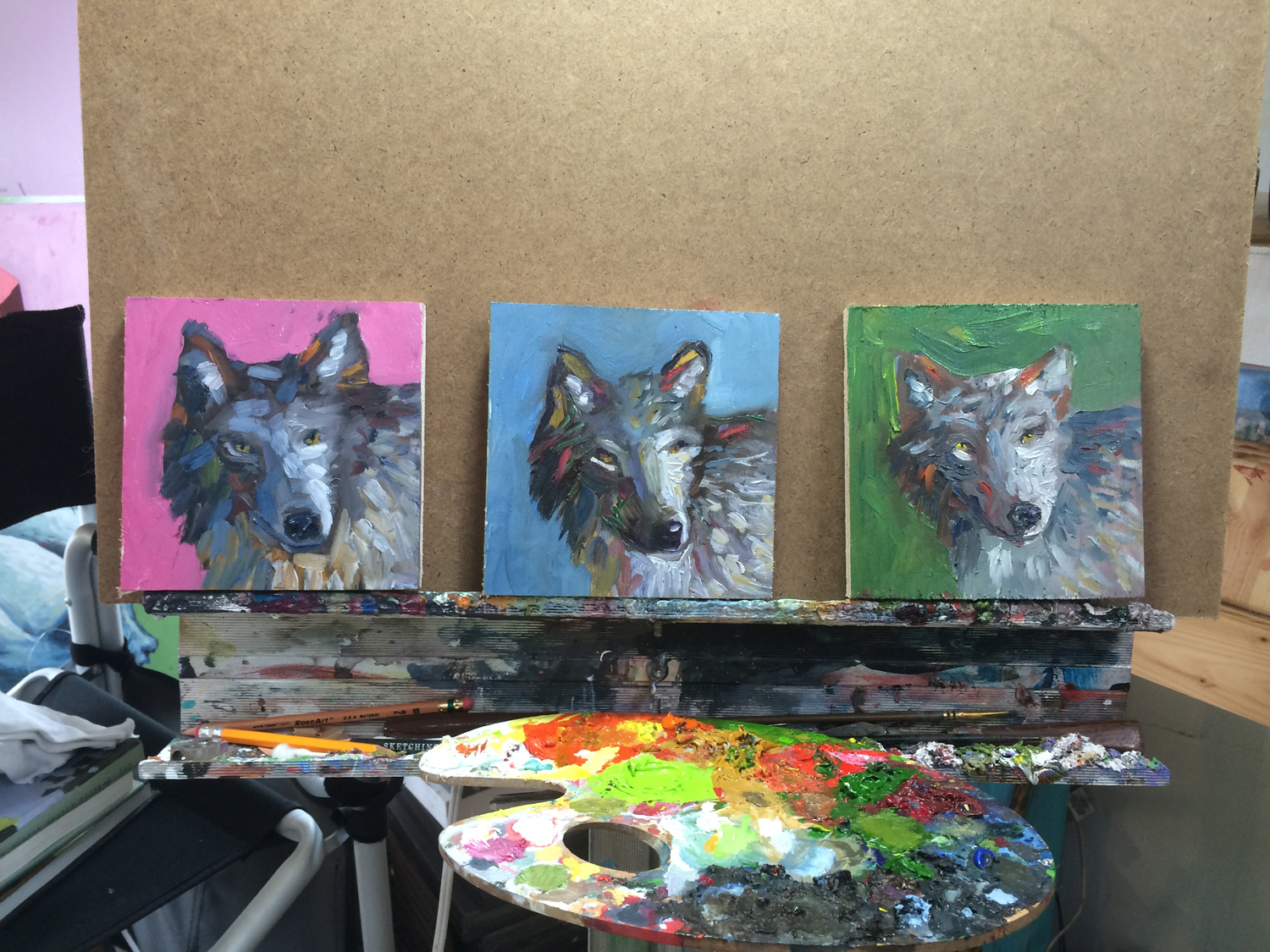 Wolves Animal Art Painting Will Eskridge