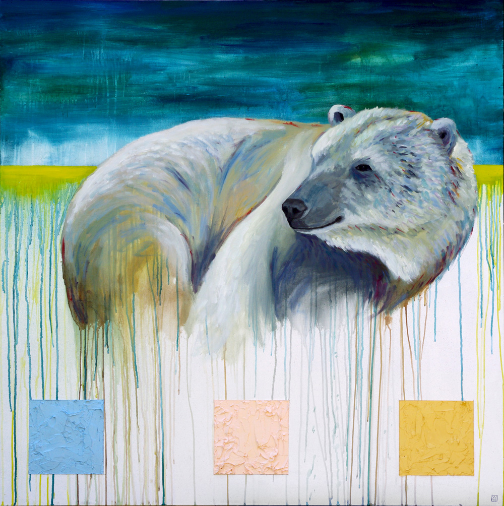 Snuggle Up Get Cold wildlife polar bear painting animal art Will Eskridge