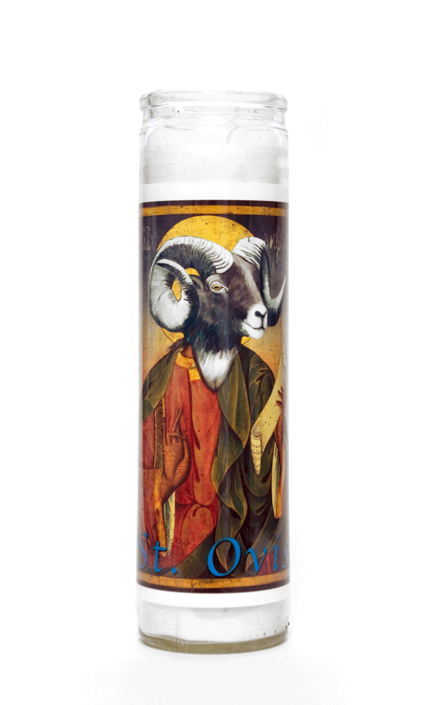 Ovis Ram Icon painting animal spirit art prayer candle