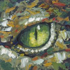 crocodile eye original painting animal wildlife artist art Will Eskridge