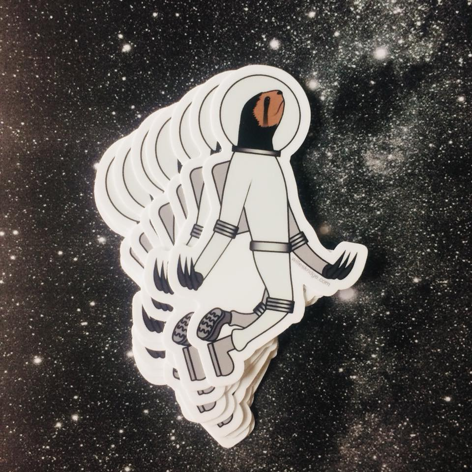 Space Sloth Sticker Animal Artist Illustration Art Will Eskridge Athens Georgia