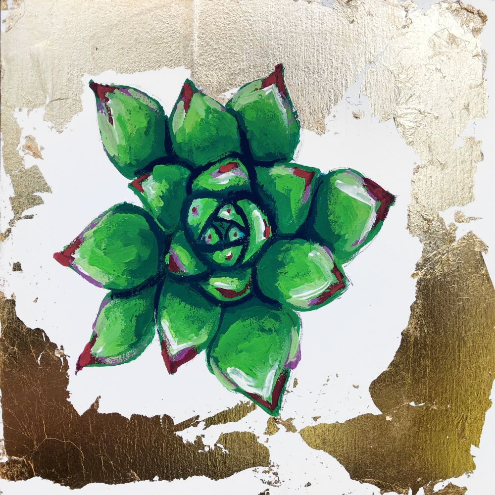 Crested Molded Wax Agave Original Painting