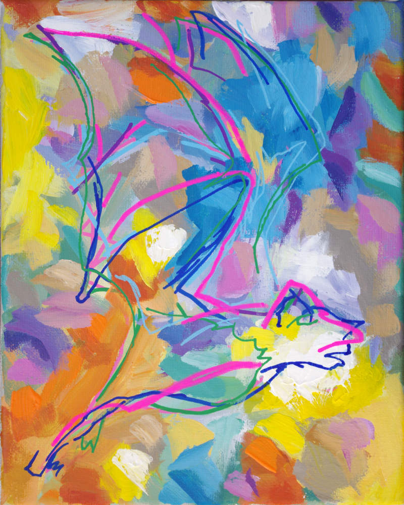 Sunday Evening bat abstract expressionist animal artist art painting Will Eskridge acrylic bright colors