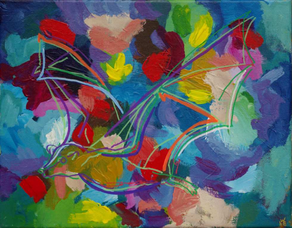 A Kiss Before Bedtime bat abstract animal artist art painting Will Eskridge acrylic bright colors