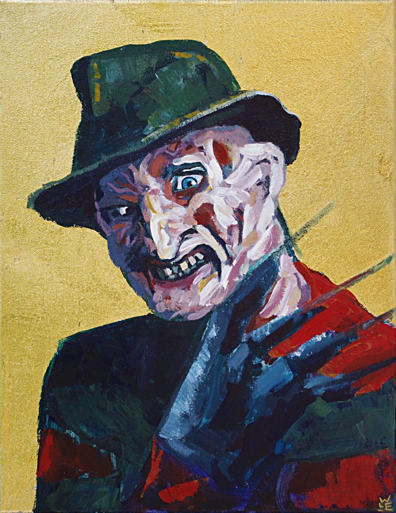 Freddy Kruger Nightmare on Elm Street fan horror contemporary art painting gold leaf icon Will Eskridge