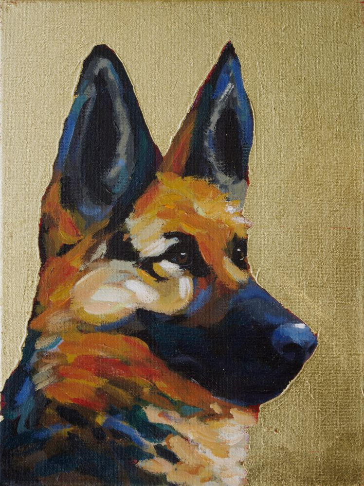 German Shepherd contemporary pet portrait animal artist dog painting athens georgia Will Eskridge