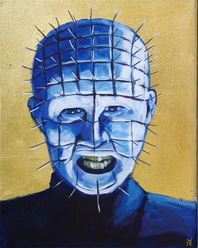 Pinhead Hellraiser contemporary portrait horror gold icon painting art Will Eskridge