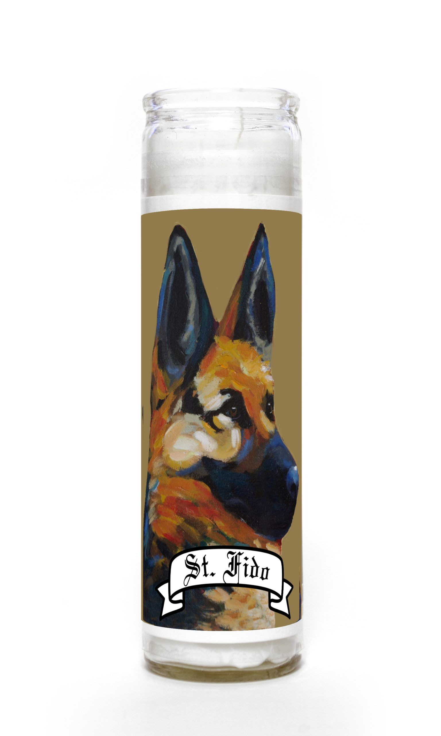 German Shepherd contemporary pet portrait animal painting personalized spirit prayer novena Candle