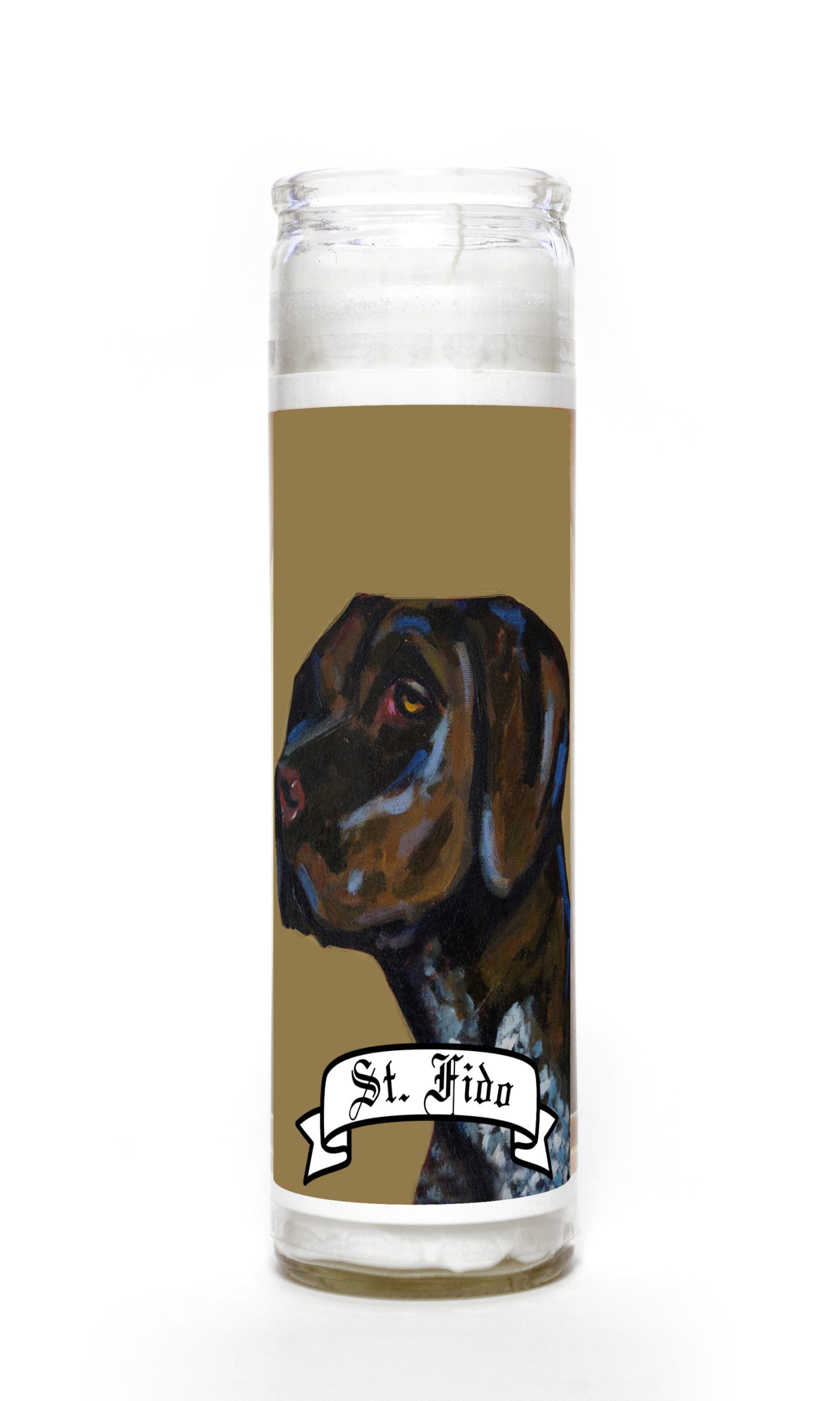 German Shorthaired Pointer contemporary pet portrait animal painting personalized spirit prayer novena Candle