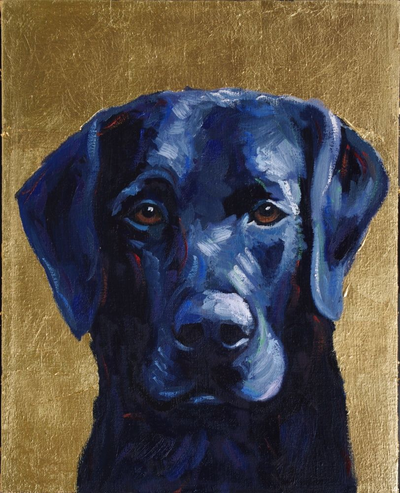 Contemporary Pet Portrait Black Lab Painting Animal Art Will Eskridge Athens Georgia Artist