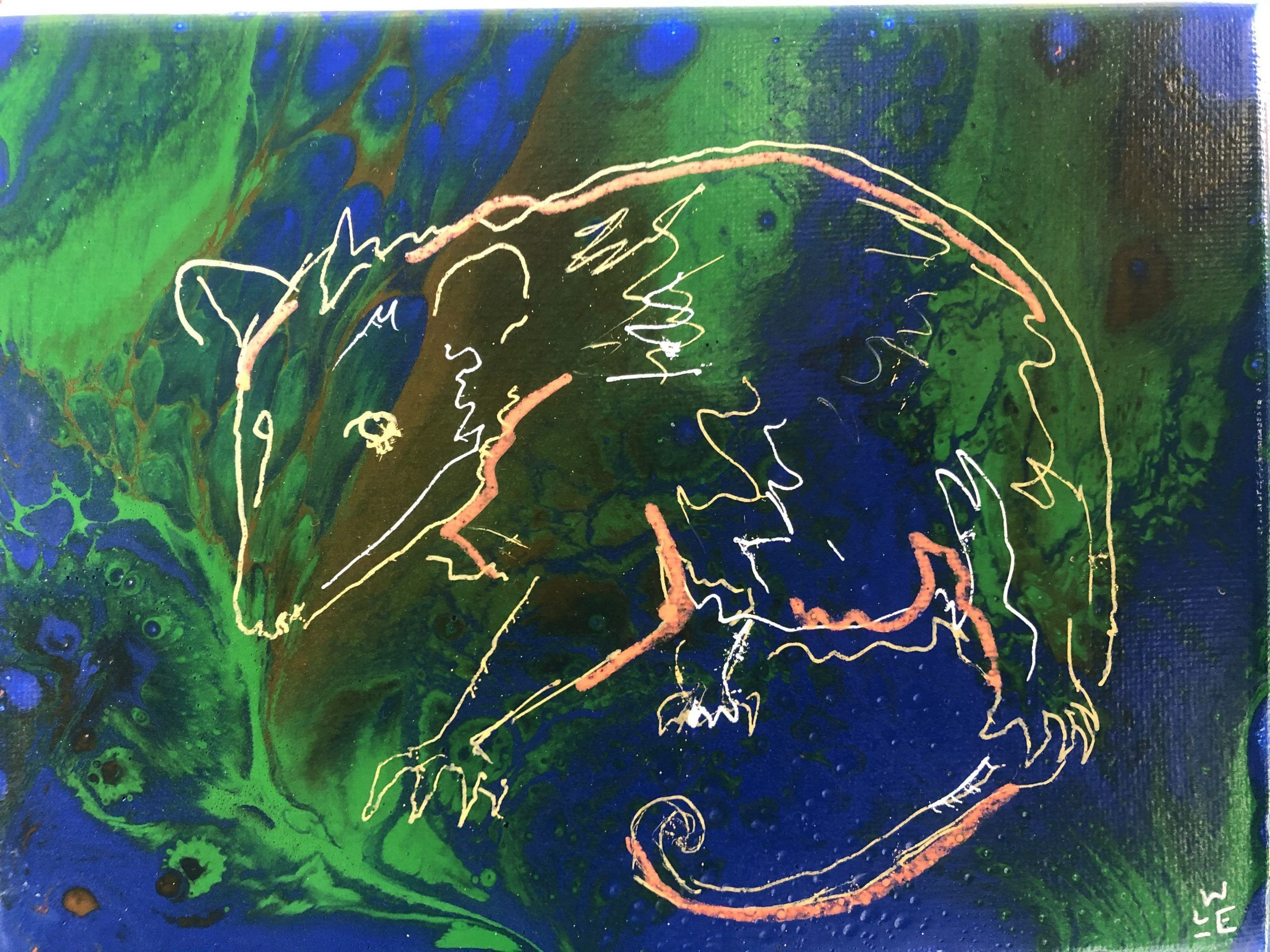 Kiss The Night Opossum Acrylic Painting