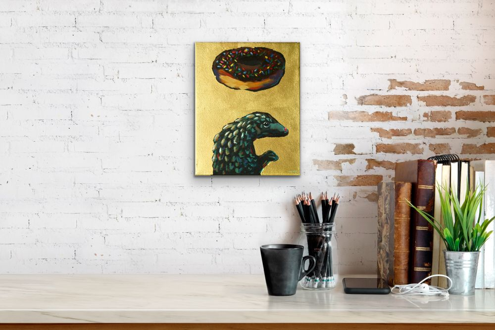 Donuts Will Save The World Pangolin Painting Wildlife Artist Art Contemporary Halo Saint Humor Punk Rock N Roll Gold Leaf Athens Georgia Will Eskridge Insitu