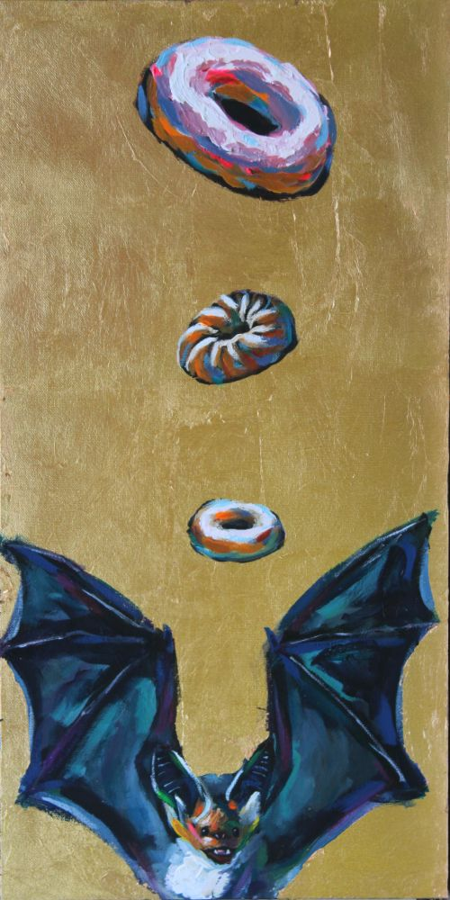 Thrice Blessed bat donut outcast animal gold leaf funny humor surreal wildlife art contemporary saint icon athens artist acrylic painting Will Eskridge