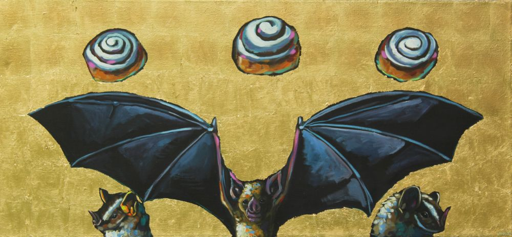 We Sold Our Souls For Cinnamon Rolls Black Sabbath painting wildlife artist art contemporary halo saint humor rock n roll gold leaf athens georgia Will Eskridge