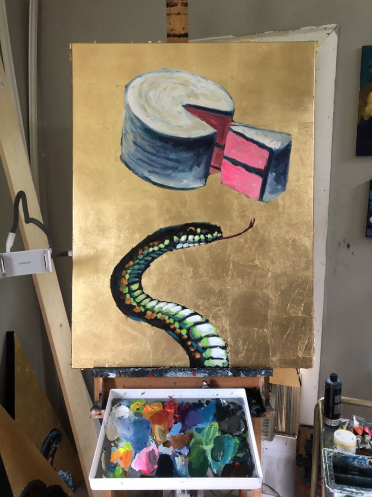 Snake Cake Art Painting Gold Leaf Saint Confectionery Outcasts New Series Art Animal Wildlife Rock N Roll Atlanta Georgia Will Eskridge